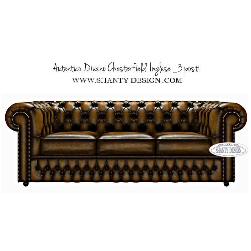 Divano Chesterfield in pelle Vintage ROMA GOLD ORO – Shanty-Design ...